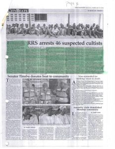 RRS arrests 46 suspected Cultists